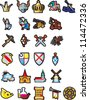 A large set of different icons of medieval themes. - stock vector