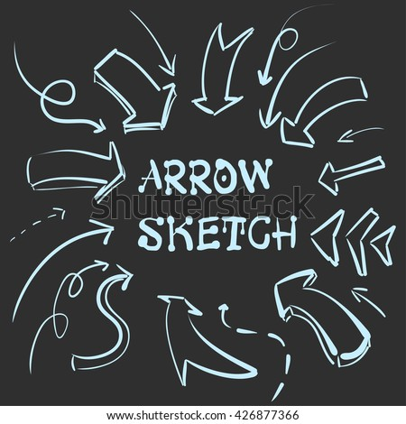 A large set of hand-drawn vintage arrows. Form style. It can be used for website design. Vector illustration - stock vector