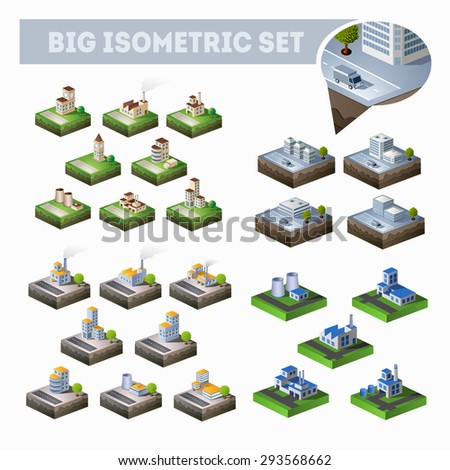 A large set of isometric city map with lots of buildings, skyscrapers, roads and factories - stock vector