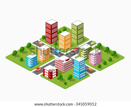 A large set of isometric urban objects. A kit of modern buildings, skyscrapers, houses, supermarkets, roads and streets.