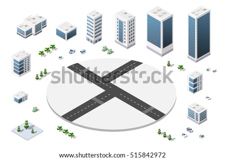 A large set of isometric urban objects. A kit of towny buildings, skyscrapers, houses, supermarkets, roads and streets
