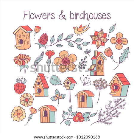 Large set spring clipart spring flowers stock vector 1012090168 a large set spring clipart spring flowers leaves branches birdhouses isolated mightylinksfo