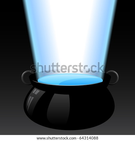 A large vat of magical glowing water - stock vector