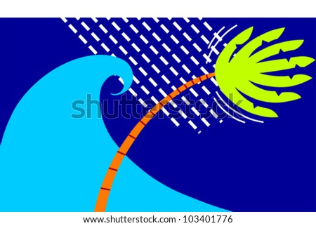 A large wave, sheets of rain and a blowing bending palm tree suggest a tropical storm or hurricane - stock vector
