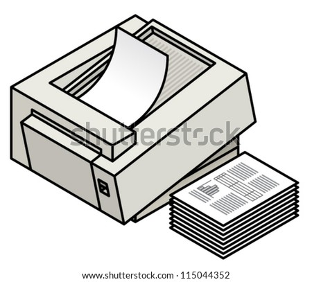 A laser printer printing a stack of business documents. - stock vector