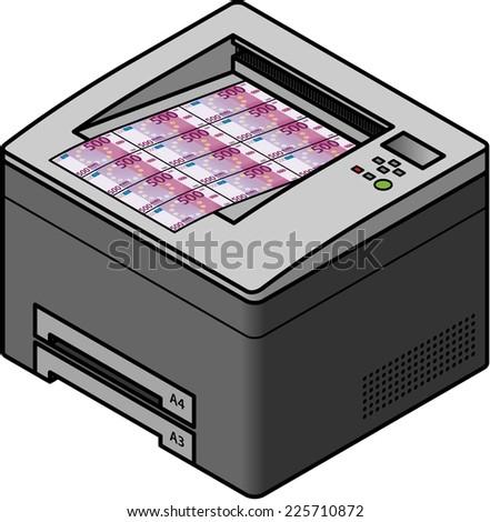 A laser printer printing money / bank notes. Concept: economy, counterfeiting, value of money. - stock vector