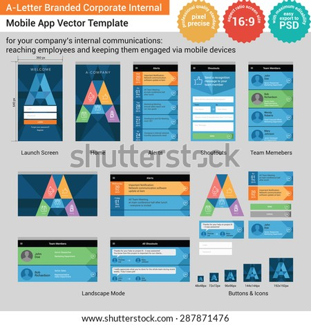 A-Letter Branded Corporate Internal Mobile App Vector Template - for your company's internal communications: reaching employees and keeping them engaged via mobile devices - stock vector