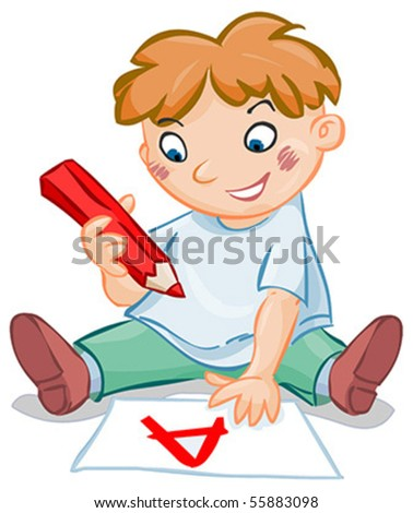 A letter drawing boy - stock vector