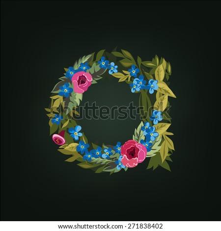 A  letter. Flower  alphabet. Colorful font. Lowercase.  Vector illustration. - stock vector