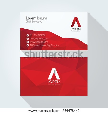A Letter Logo Abstract Polygonal Background Business card template - stock vector