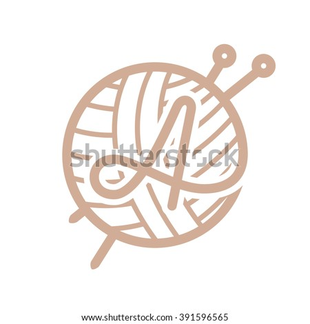 A Letter Logo With Skein Of Yarn And Knitting Needles Vintage Font Style Vector