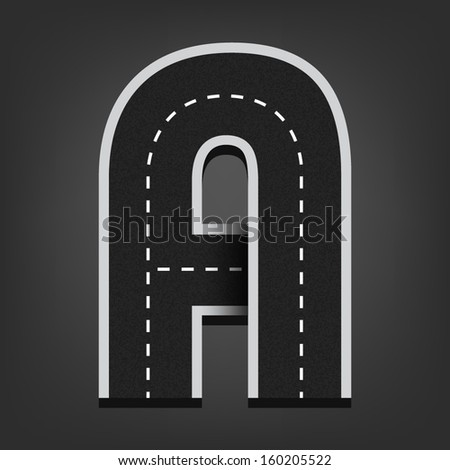 A letter. Road font - stock vector