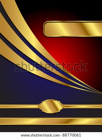 A letter sized, blue, red and gold, commercial style vector background with space for your text. - stock vector