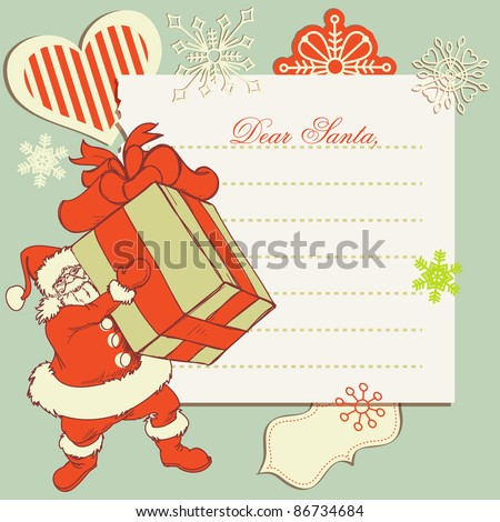A letter to Santa Claus - stock vector