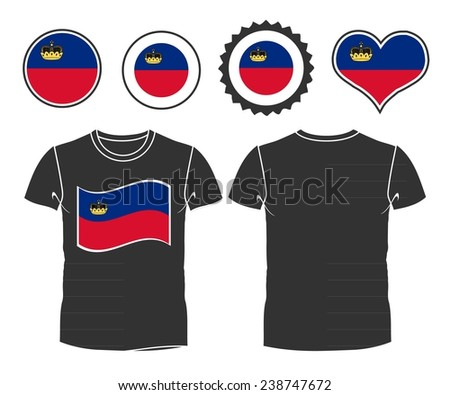 A Liechtenstein businessman rips open his shirt and shows how patriotic he is by revealing his countries flag beneath printed on a t-shirt - stock vector