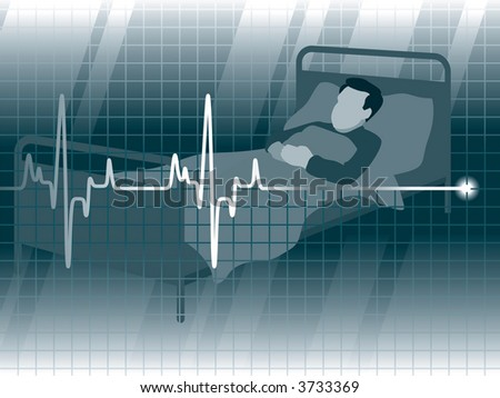 A lifeline in an electrocardiogram and a patient - stock vector