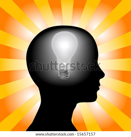 A light bulb shines in the head of a thinking woman, concept of a bright idea, invention, inspiration, mind. - stock vector
