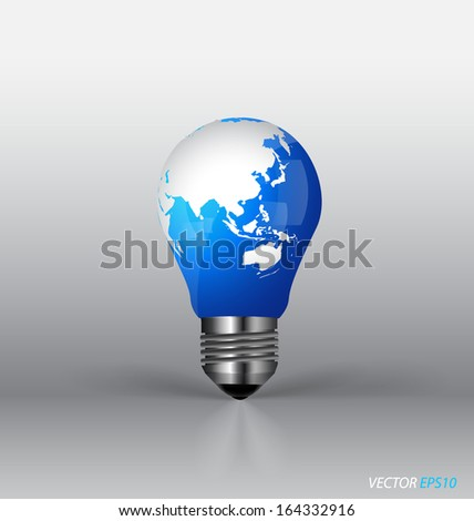 A light bulb with modern globe. Vector illustration.