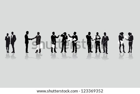 a line of business people - stock vector