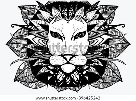 Herbivore Animals Coloring Pages : Lion africa animal zoo herbivores line stock vector