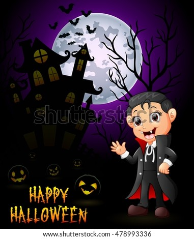 A little boy in a Dracula costume with pumpkin and haunted house .vector illustration