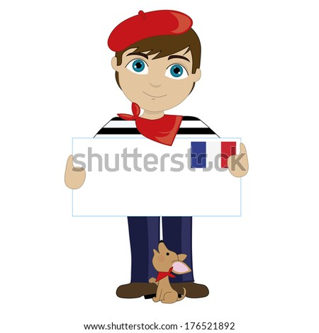 A little boy is dressed in a traditional French costume  - stock vector