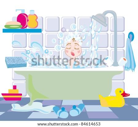 A little boy takes a bath with toys - stock vector