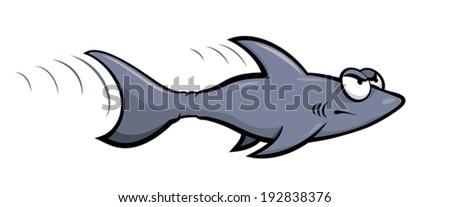 A little cartoon shark is angry - stock vector
