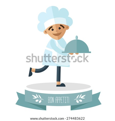 A little cook with tray on the pedestal. - stock vector