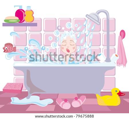 A little girl bathes under a shower - stock vector