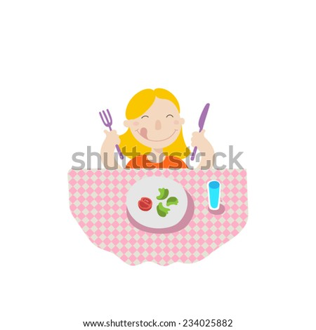 A little girl eating healthy food, flat style illustration  - stock vector