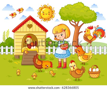A Little Girl Feeds Chickens And Hens Around The Chicken Coop Farm Vector Illustration In