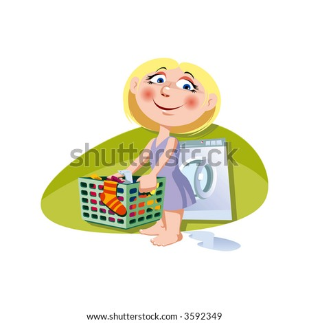 A little girl with clothes-basket. Vector illustration.