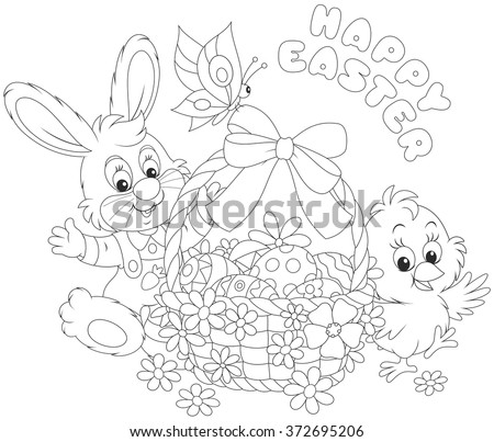 A little rabbit and a chicken with a happy Easter greeting, a decorated basket with a butterfly, painted eggs and flowers