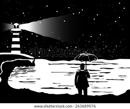 A lone man stands in front of the sea with an umbrella black and - stock vector
