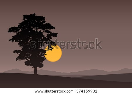 A Lone Tree with Dark Sunset, Sunrise. - stock vector