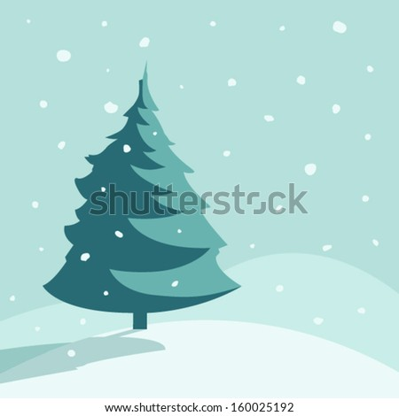 A lonely fir tree.  - stock vector