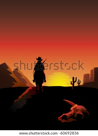 A lonesome cowboy on a horse rides off into the sunset - stock vector