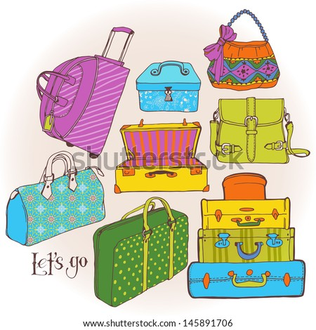 A lot of bags and suitcases. Go on holiday with luggage.