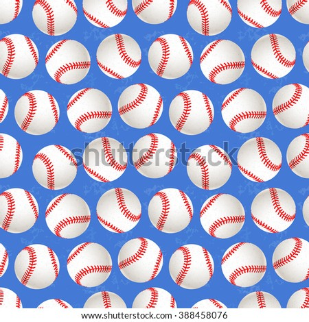 A lot of baseball balls on blue background, seamless pattern - stock vector