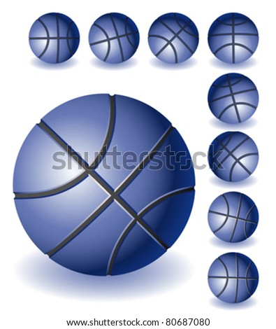 A lot of different isolated blue Basketballs