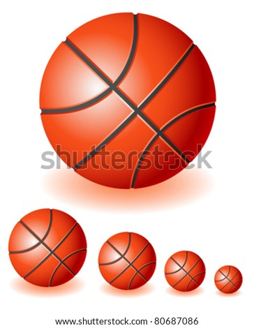 A lot of different isolated red Basketballs