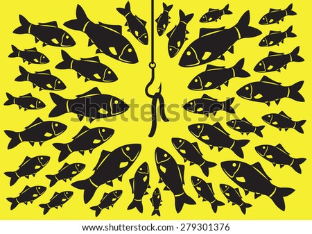 A lot of fishes attracted to a fishing hook with worm as bait. Minimalist vector illustration in black isolated on saturated yellow background. - stock vector