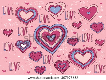 A lot of hearts and Love lettering with soft red color - Valentine's Day postcard concept. Vector illustration - stock vector