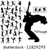 a lot of high quality traced dancing jumping running people silhouettes - stock vector