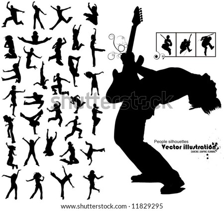 a lot of high quality traced dancing jumping running people silhouettes