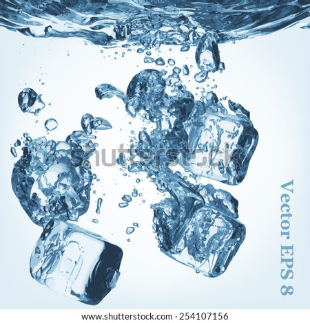A lot of ice cubes poured in water, vector illustration EPS 8. - stock vector