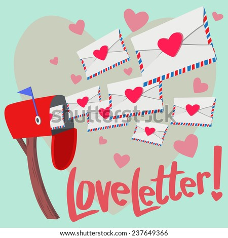 A lot of Love letter show up from mailbox with big heart background - stock vector