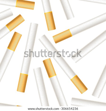 A lot of realistic cigarettes on white background seamless pattern - stock vector