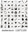 a lot of various objects and icons - stock vector